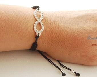 Big INFINITY with Rhinestones Bracelet Macrame Knotted Bracelet Elegant Black Wrap Bracelet Womens Jewelry Womens and Teen Accessories