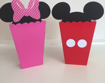 Mickey and Minnie Mouse Popcorn Snack Favor Boxes Birthday Party Container Supplies