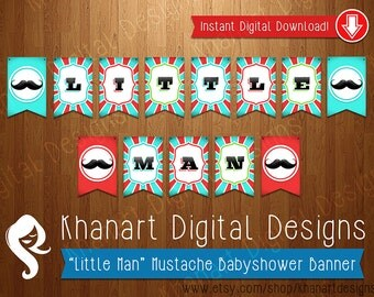 "Instant Download: ""Little Man"" Mustache Babyshower Banner (Red / Aqua)"