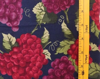 Marcus Brothers Textiles Karen Jarrar, FF-Marcus, PTTN# 1117, red and purple grape bunches quilting fabric on dark navy background