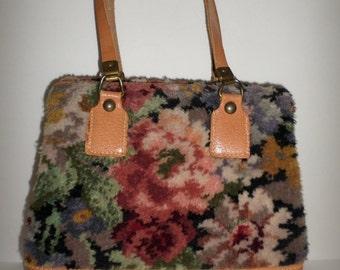 Vintage Floral Carpet Genuine Pig Skin Hand Bag