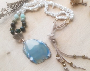 Boho chic light blue agate slice necklace