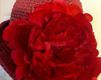 Red Handcrafted Hat with Flower
