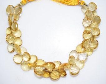 "1 Strand Citrine Faceted Heart Shape Beads-Citrine Heart Shape Briolette, 10.50x10.50 - 11.50x11.50 mm, 8"", BL328"