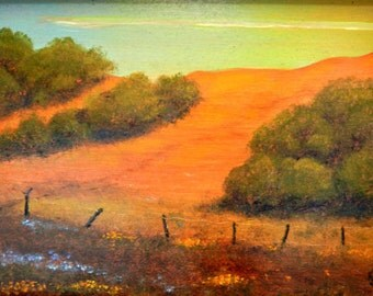PRINT of, Hills, Paintings of hills, Hill landscapes, Golden hills, California hills, Impressionistic, An Orange Hill, on CANVAS print