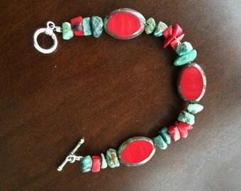 Handmade Beaded Bracelet / Turquoise Bracelet / Beaded Bracelet / Red Bracelet / Statement Bracelet