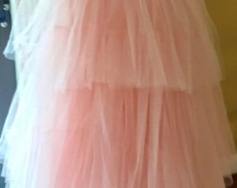 Vintage Pink Tulle Strapless Dress with sash