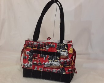Firetruck quilted bow tucks purse
