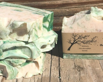 Aloe Vera and Bamboo Mint Homemade Soap Bar - Sensitive Skin Soap - Moisturing Soap - Natural Skin Care - Rusitc Gift Ideas