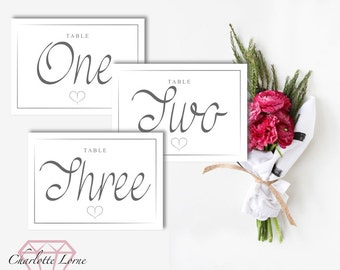 Wedding Day Table Numbers - Table Names - Table Numbers - Printable Cards - Digital Download File