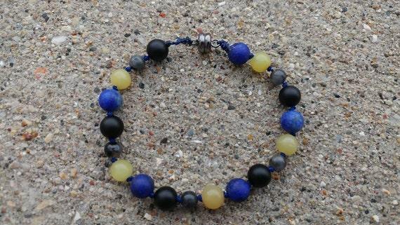 Batman Inspired Youth Bracelet- Natural Stone Bracelet