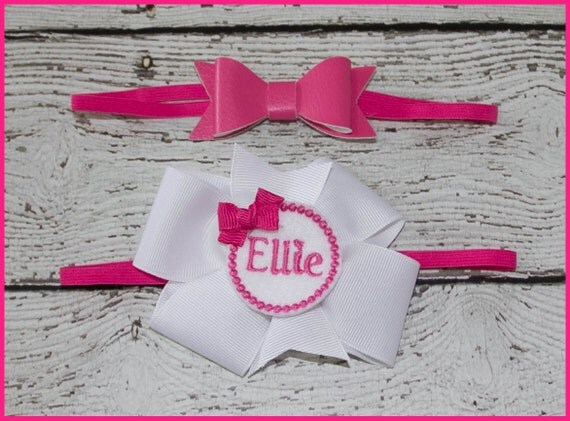 Personalized Hair bow Set on alligater clip or head band Hot Pink