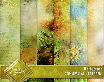 CU Commercial Use Background Papers set of 6 for Digital Scrapbooking or Craft projects, Reflection, Designer Stock Papers