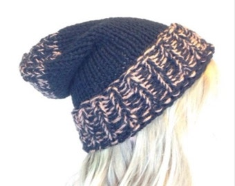 Hand Knitted Hat (Black/Dusty Peach)