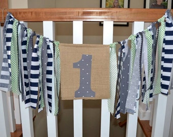 Fabric/Burlap First Birthday Banner