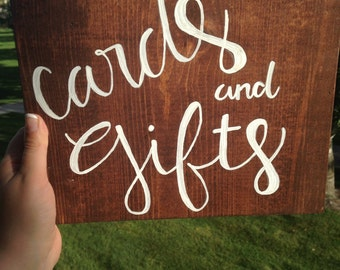 Cards and gifts wood wedding sign, card table decoration, wedding decoration. Graduation party sign, birthday, wedding shower, baby shower
