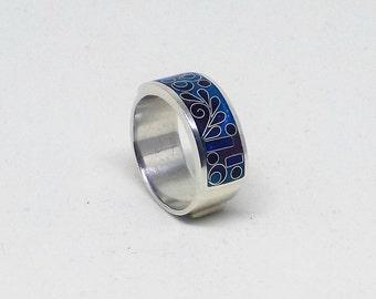 Royal blue ring, enamel band ring, sterling silver ring, enamel ring for women, geometric pattern ring, free shipping, gift for her