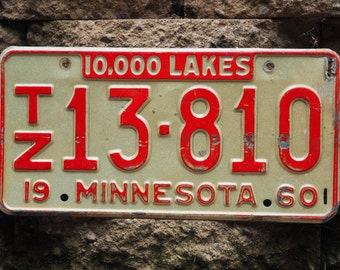 Antique License Plate - 10,000 Lakes - Minnesota - 1960