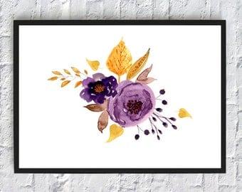 Purple flower watercolor print, watercolor flowers, floral watercolor, art print, wall art print, printable, floral print, watercolor poster