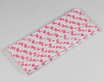 Hot Pink Retro Paper Drink Straws / Eco Friendly / Bio-Degradeable / Pretty Heart Design