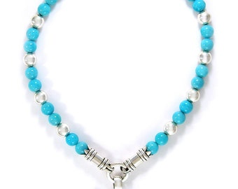 Solid Sterling Silver turquoise stone seaside necklace