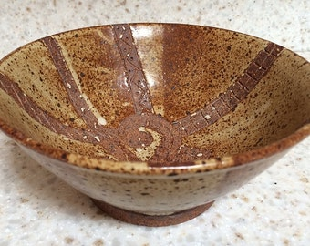 Handmade rustic stoneware pottery bowl, hand carved ceramic bowl with Aztec-inspired design