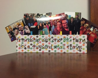 Friendship Brag Board; Tabletop Wooden Picture Holder
