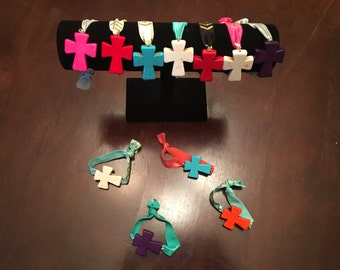 Cross Bracelet! Multiple Colors! Stone Cross! Stretchy!