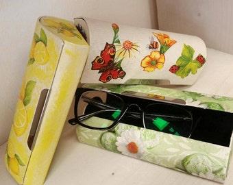 Box for glasses, art spectacle, spectacle case, eyewear, eyeglass case, decoupage box, gift for women, uncommon box, glasses case