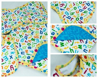 Flannel Baby Blanket 3 pc Set Primary Colors Jumbled Alphabets on White (C16)