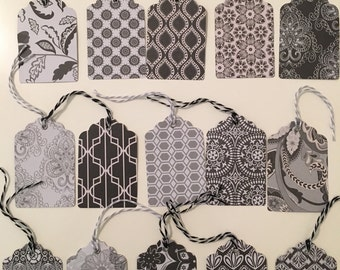 Gift Tags - 15 assorted tags (black/gray/white)