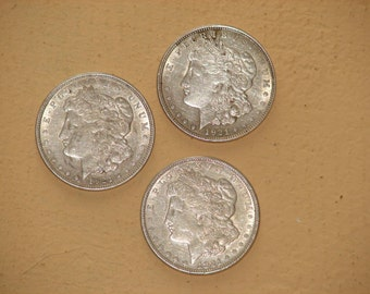 Lot of 3 1921 Morgan Silver Dollars  Almost Uncirculated