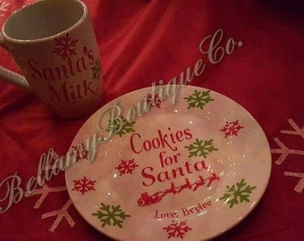 Santa cookie plate and mug,cookies for sants,Christmas