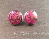 Earrings stainless steel Flower Pink
