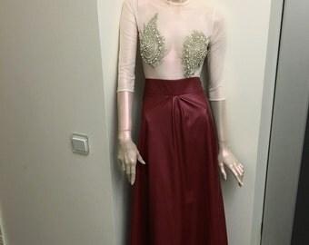 Bordo Eco-skin long skirt.
