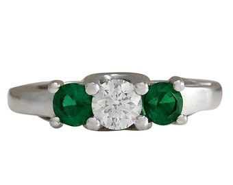 1.00CTW Natural Colombian Emerald And Diamond Ring 14K Solid White Gold