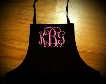 Monogrammed Aprons, Personalized Gift, personalized aprons, baking aprons, aprons, womens aprons, cooking aprons, black apron,monogram apron