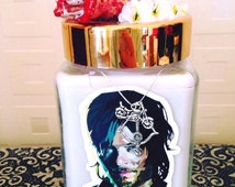 Walking Dead inspired scented soy wax candle in the style of Daryl Dixon