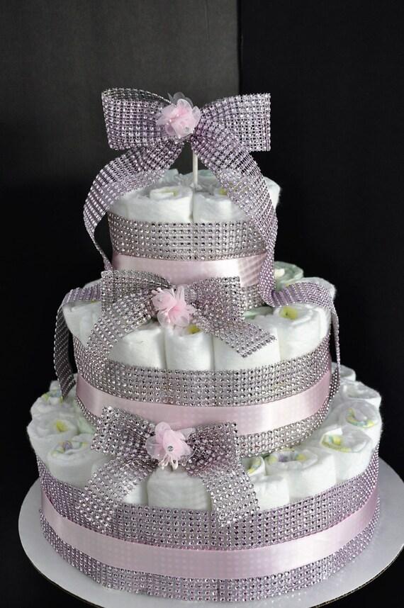 Baby Girl Diaper Cake Centerpiece Pink Diamond Bling Baby