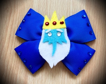 Adventure Time Ice King Character Inspired Blue Hair Bow