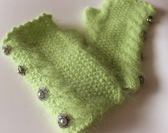 Hand Knitted Angora Fingerless Gloves