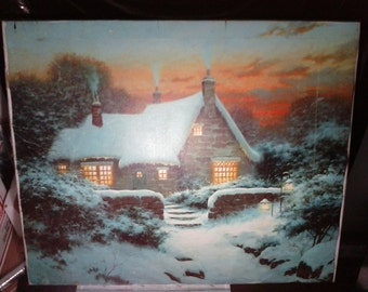 Vintage Prints Sergon Winter Cottage Original Giclee  Art Limited Edition 4 of 375 Silkscreen Print With C.O.A.