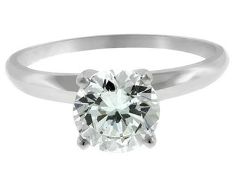 certified 1.01 ct round cut solitaire diamond engagement Ring 14k white gold  hand made