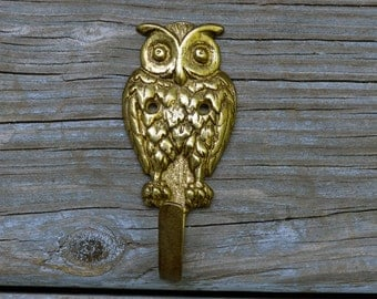 Vintage Brass Owl Wall Hook Solid Heavy