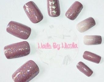Purple Glitter Ombre Long Square False Nails with Studs | Glue on Nails | Press on Nails | False Nails | Square Nails | Studs | Ombre |