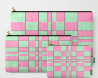 Intersections Pink and Green -Carry All Zipper Pouch -Set of 3