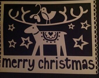 Reindeer merry Christmas die cut shape sizzix x4