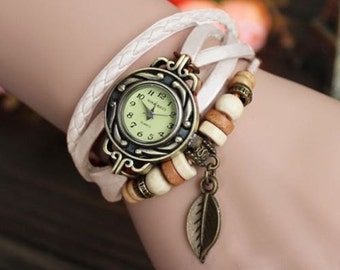 Women wrist watch, ladies wrist watch, leather watch, vintage, boho, retro, bracelet watch, WHITE, leather jewelery, FREE GIFT !!