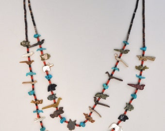 ON SALE : Vintage Native American 2 Strand Fetish Necklace,Turquoise,Coral,Heishi Shell and different Stones,Animals & Birds