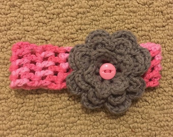 Baby Crochet Headband with Flower - Pink and Gray